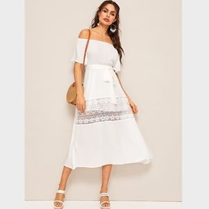 Off Shoulder Lace Detailed White Midi Dress